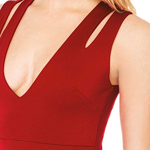 Women's Tank Top Neck Dress Red Sexy Bodycon Chfashion Deep Sleeveless V Elastic ax1d1A8