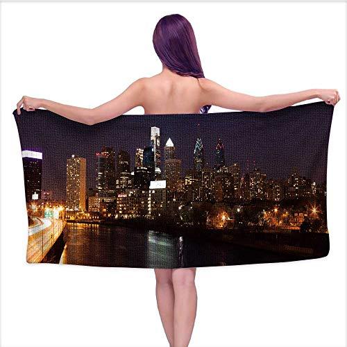 (Bath Towel, Philadelphia Skyline by Night,Good Ideal for The Kid's Bathroom, a Guest Bathroom W 31.5