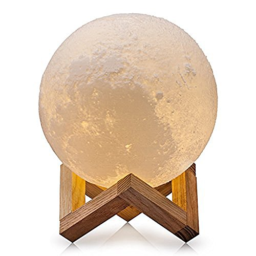 Ricris Moon Lamp, 3D Printed Moon Light Lamps with Wood Stand, Tap Control 3 Colors Changing Moon Night Light for Kids, Rechargeable Home Decor Lunar Moonlight (5.9inch)