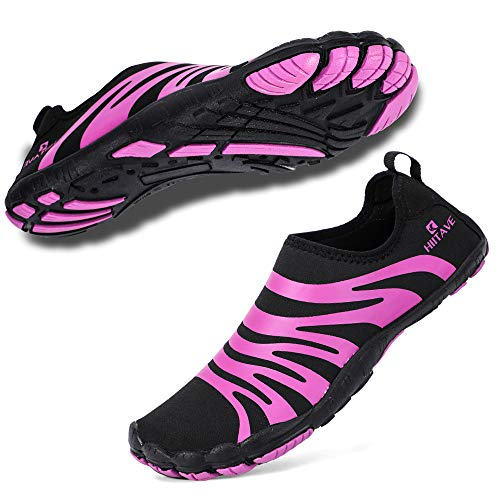 hiitave Women Water Shoes Barefoot Beach Aqua Socks Quick Dry for Outdoor Sport Hiking Swiming Surfing Black/Purple 7 M US Women