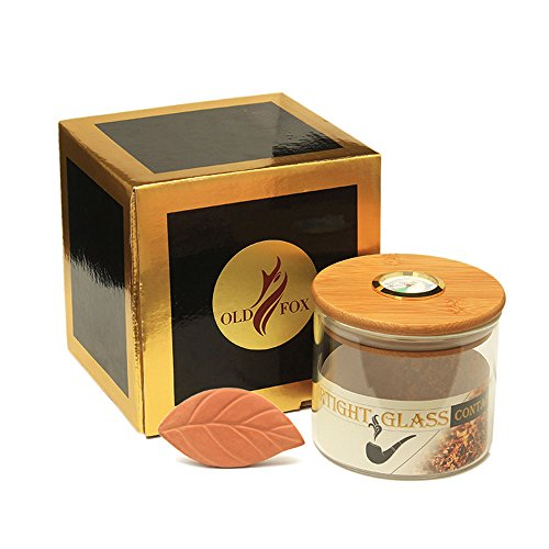 (OLD FOX Tempered Glass Tobacco Humidor Jar Airtight Bamboo Lid Cigar Coffee Bean Tea Candy Jar Hygrometer (CG0014))
