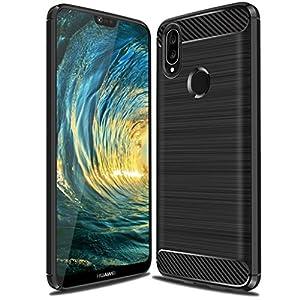 Huawei P20 Lite Case,Huawei Nova 3E Case, Suensan TPU Shock Absorption Technology Raised Bezels Protective Case Cover for Huawei P20 Lite smartphone (Black)