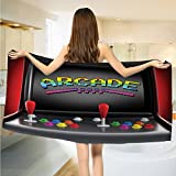 Video Games Bath Towels Arcade Machine Retro Gaming Fun Joystick Buttons Vintage 80s 90s Electronic extra large Towels Multicolor