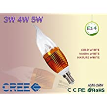 populor 3W 4W 5W led E14 E27 85-265V 110V 220V candle light CREE Chip led spotlight led bulb(Cole White/3w)