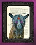 Hippie goat poster, 60s wall art, vintage bohemian animal art print on an original antique book page