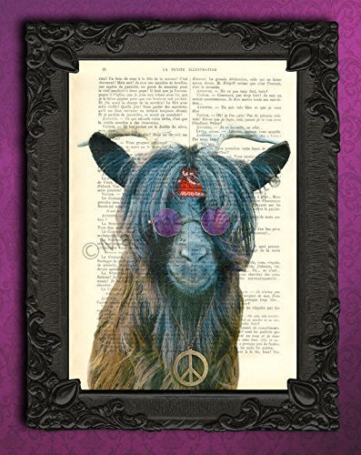 Hippie goat poster, 60s wall art, vintage bohemian animal art print on an original antique book page by Madame Memento