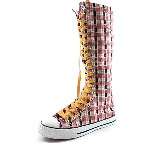Dailyshoes Tela Donna Stivali Alti Metà Polpaccio Casual Sneaker Punk Flat, Stivali Scozzesi Color Giallo Senape Rosa, Pizzo Giallo Senape