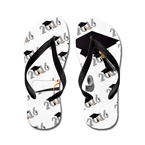 CafePress Class Of 2016 Cap and Diploma - Flip Flops, Funny Thong Sandals, Beach Sandals Black