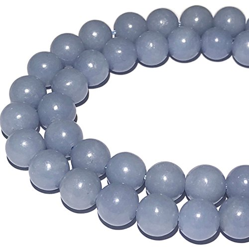 [ABCgems] Peruvian Sky Blue Anhydrite AKA Angelite (Grade AA) 6mm Tiny Smooth Round Beads for Beading & Jewelry Making