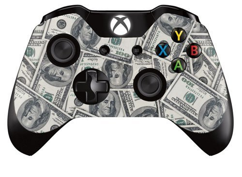 Xbox One Controller/Gamepad Skin / Cover / Vinyl Wrap - 100 Dollar Bill Design (Pack of 2 Skins) by Cell Shell