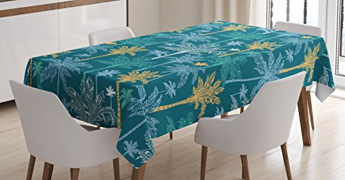 Nature Tablecloth by Ambesonne, Summer Vibes Island Californian Palm Trees with Teal Backdrop Artwork, Dining Room Kitchen Rectangular Table Cover, 60W X 84L Inches, Light Blue and Marigold