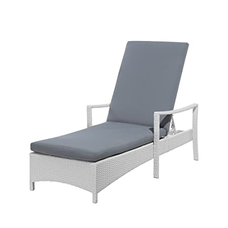 Beliani Outdoor Garden Chaise Lounge White Wicker Grey Cushion ... on chaise sofa sleeper, chaise recliner chair, chaise furniture,