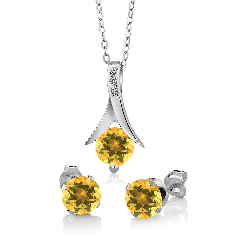 2.15 Ct Yellow Citrine White Diamond 925 Sterling Silver Pendant Earrings Set