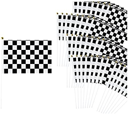 Blue /& Yellow Check Waving Hand Flag 12 Pack Decoration Checkered Sports Racing