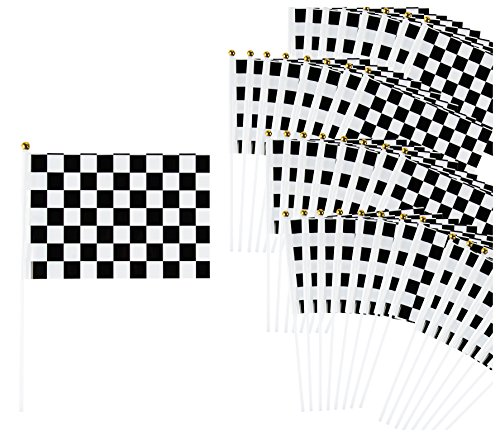 Checkered Flag - 50-Pack Racing Flags on Plastic Sticks, Hand Flags for Race Car Birthday Party Favors, Black and White, 8.2 x 12 Inches
