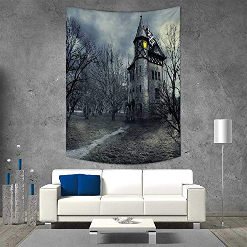 smallbeefly Halloween Customed Widened Tapestry Halloween Design Gothic Haunted House Dark Sky Leafless Trees Spooky Theme Wall Hanging Tapestry 40W x 60L INCH Teal]()