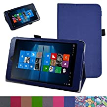 "iRULU Walknbook 3Mini Case,Mama Mouth PU Leather Folio 2-folding Stand Cover for 8"" iRULU Walknbook 3Mini / 8 Inch Windows 10 Tablet,Dark Blue"