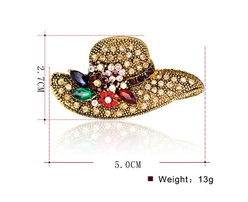 JAJAFOOK Antique Gold Retro Crystal Rhinestone Flower Hat Brooch Pin Women Girls Dress Jewelry