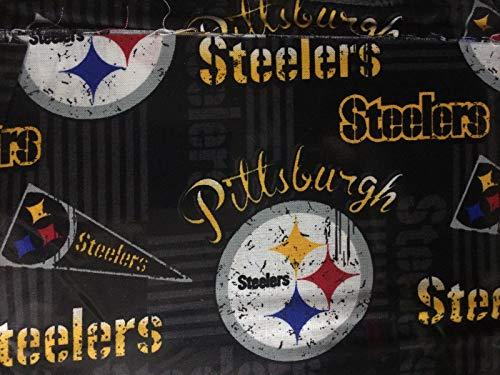 Pittsburgh Steelers Football Black Sheeting Fabric Cotton 5 Oz 58-60