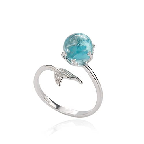 0ccf78e104521c Amazon.com  Orris Princess of Ocean Mermaid Sterling Silver Blue Crystal  Adjustable Free Size Open Ring  Jewelry