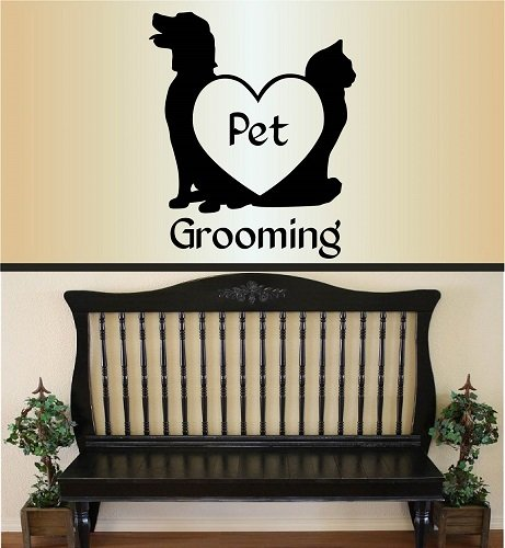 Wall Vinyl Decal Home Decor Art Sticker Pet Grooming Words Sign Dog and Cat Heart Pet Shop Grooming Salon Kids Room Removable Stylish Mural Unique (Cat Grooming Pictures)