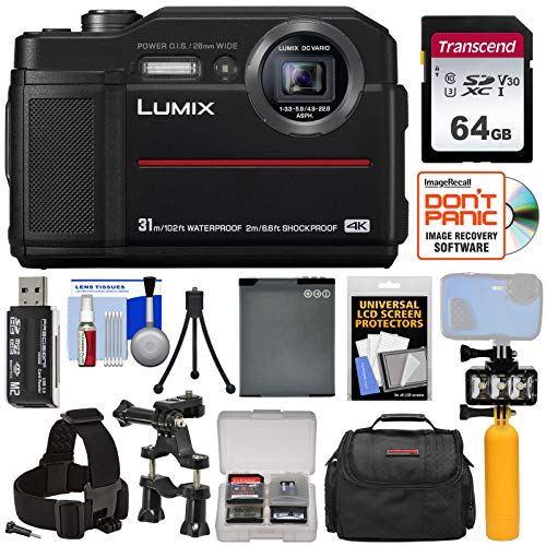 Panasonic Lumix DC-TS7 4K Tough Shock & Waterproof Digital Camera (Black) with 64GB Card + Battery + Case + LED Video Light + Buoy + Action Mounts Kit