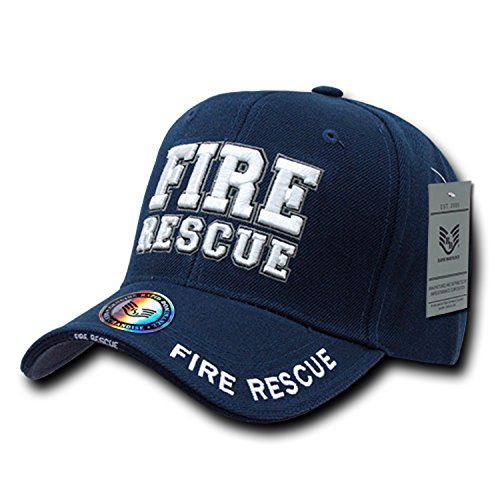 Navy Blue Fire Rescue Dept Department Fireman EMT EMS Structured Baseball Cap Hat (Fire Dept Embroidery)