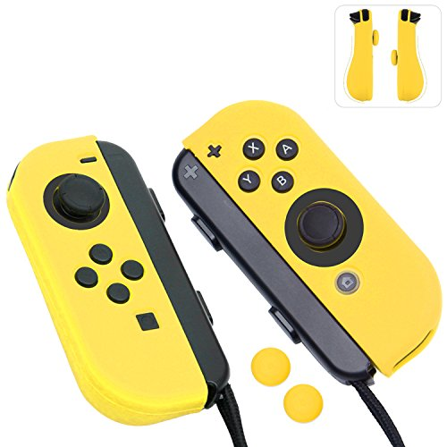 Joy-con Gel Guards With Thumb Grips Caps For Nintendo Switch (yellow)