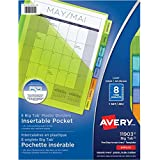 "Avery Big Tab Pocket Insertable Plastic Dividers for Laser and Inkjet Printers,  9-1/4"" x 11-1/8"", 8 tabs, Multi-colour, 1 Set, (11903)"