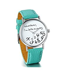 """Unisex Female Women Ladies Girls """"Whatever, I'm late anyway"""" Love Gift Leather Strap Watches Quartz Wrist Watch"""