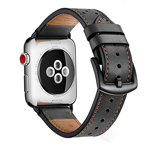 Watch Band Black Leather Replacement Bands Straps by KZKR Classic Dress Band for Apple Watch Series 1 2 3 38mm Men Women
