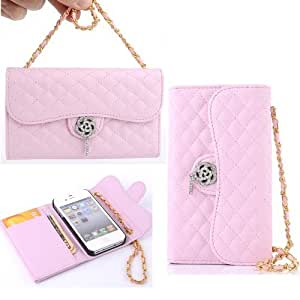 good 5S case cover,Carryberry leather case cover for 5s,iphone 5s leather bling,iphone 5s wallet case cover,iphone 5 case covers,Luxury 3d diamond wallet leather with Rmf6Q1hRvY0 strap leahter case cover for iPhone 5 5s by Canica Pink