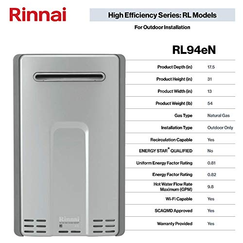 Rinnai RL Series HE+ Tankless Hot Water Heater: Outdoor Installation