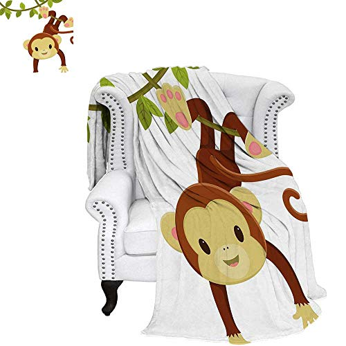 - WilliamsDecor Nursery Weave Pattern Blanket Cute Cartoon Monkey Hanging on Liana Playful Safari Character Cartoon Mascot Digital Printing Blanket 70