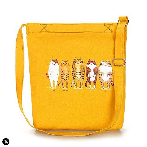 zhuotop 1Casual Leinwand Schultertasche Eco Einkaufstasche Handtasche Tasche Geldbörse Tasche Black Bowknot Yellow Cats 8Nc8HmW2