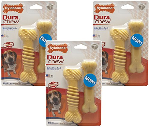 Nylabone Dura Chew Chicken Flavored Textured Bone Chew Toys, Regular – 6 Total (3 Packs with 2 per Pack) Review