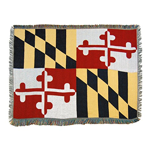 The Northwest Company Maryland State Flag Woven Tapestry Throw Blanket, 48