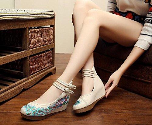 Lazutom - Sandalias de vestir de Lona para mujer Beige