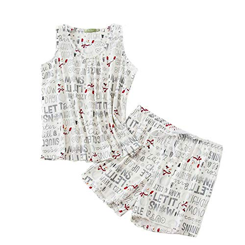 PNAEONG Women Cotton Sleepwear Short Sets Tank&Short Pajamas Sets XTSY208-White Snowman-2XL (Pajama Set Snowman)