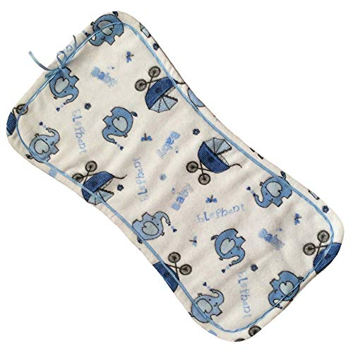 Handmade 100% Cotton/Flannel Infant/Newborn/Baby Blue Burp Cloth Triple Layered/Absorbent/Soft - Elephant and Baby Pram Pattern with Blue Backside/Blue Ribbon by Pillowerus Homemade