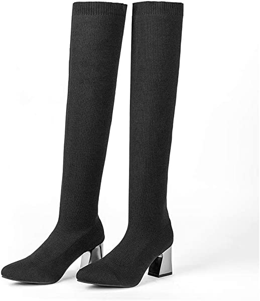 a3f8a1f2101a Women Girls Mid Heel Boots - Black Thigh High Stretchy Fabric Boots Mid Heel  Calf High Over Knee Boots Spring Autumn Winter - Comfortable Fashion  Elegant ...