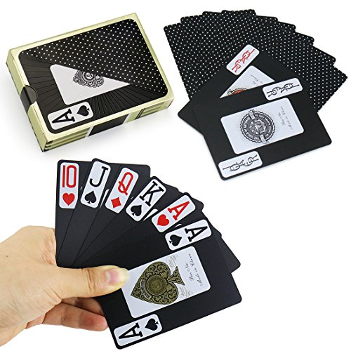 Joyoldelf Waterproof Playing Cards, PVC Legible Poker Deck of Cards with Gift Box, Perfect for Home Party and Outdoor Activities ()