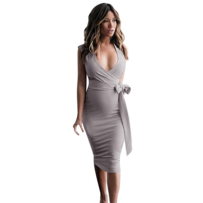 Birdfly Office Women Sexy Deep V Slim Bodycon Dress In Pure White