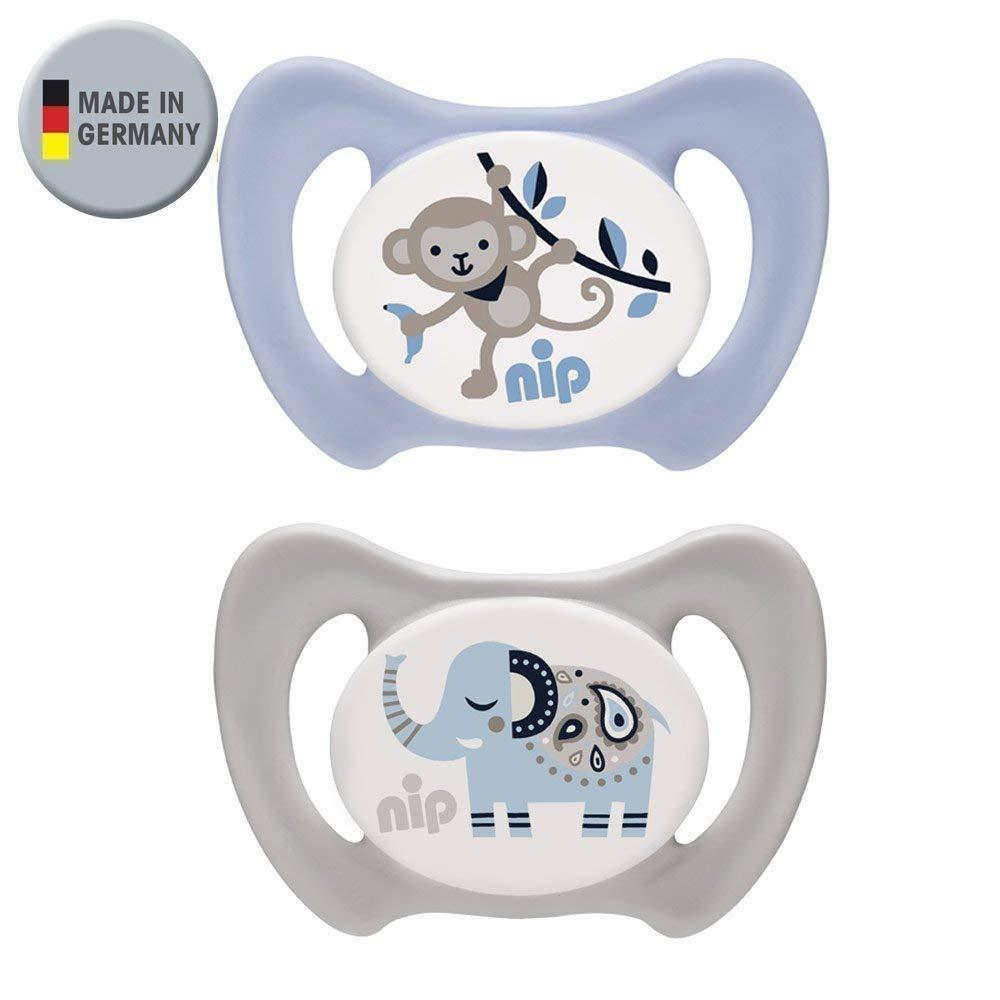 NIP Silikon Dentalschnuller Miss Denti Gr. 2 - mit ersten Zähnchen//5-13 Mo//der erste Dentalschnuller der den Beißdruck verteilt//2er Set Boy