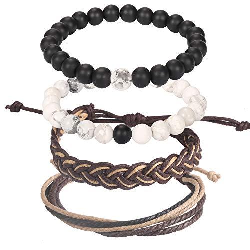 (Wrap Bead Tribal Leather Woven Stretch Bracelet - 4 Pcs Boho Hemp Linen String Bracelet for Men Women)