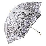 Honeystore Wedding Lace Sun UV Parasol 2 Folding 3D Flower Embroidery Umbrella 2 Fold Gray