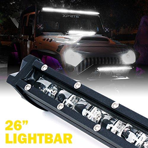 Xprite Ultra Thin Single Row Slim LED Light Bar, 26