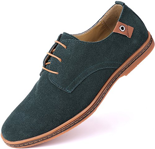 Marino Suede Oxford Dress Shoes for Men - Business Casual Shoes - Hunter Green- 9.5 D(M) US
