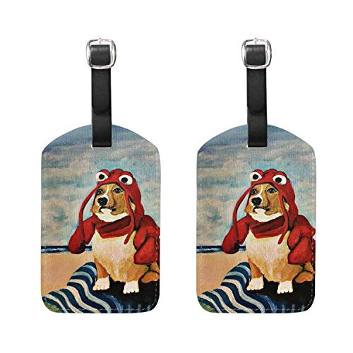 - Funny Welsh Corgi Luggage Tag Travel ID Label Leather for Baggage Suitcase 2 Piece