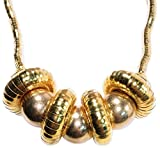 Women's Fashion Chunky Bead Gold-Plate Statement Collar Necklace 21''